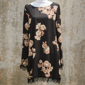 Floral Shift Dress with Black Lace Detailing